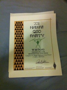 3rd place certificate for Honolulu County